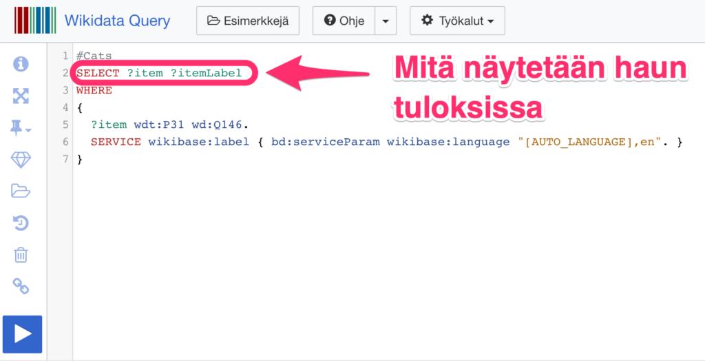 Wikidata Query Service haun tulokset