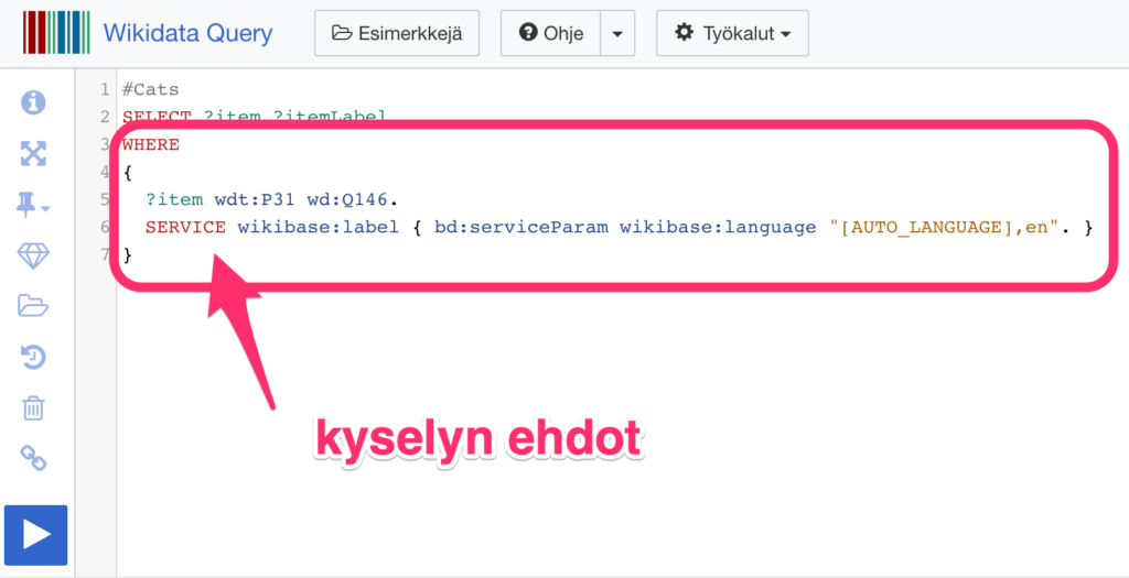 Wikidata Query Service kyselyn ehdot