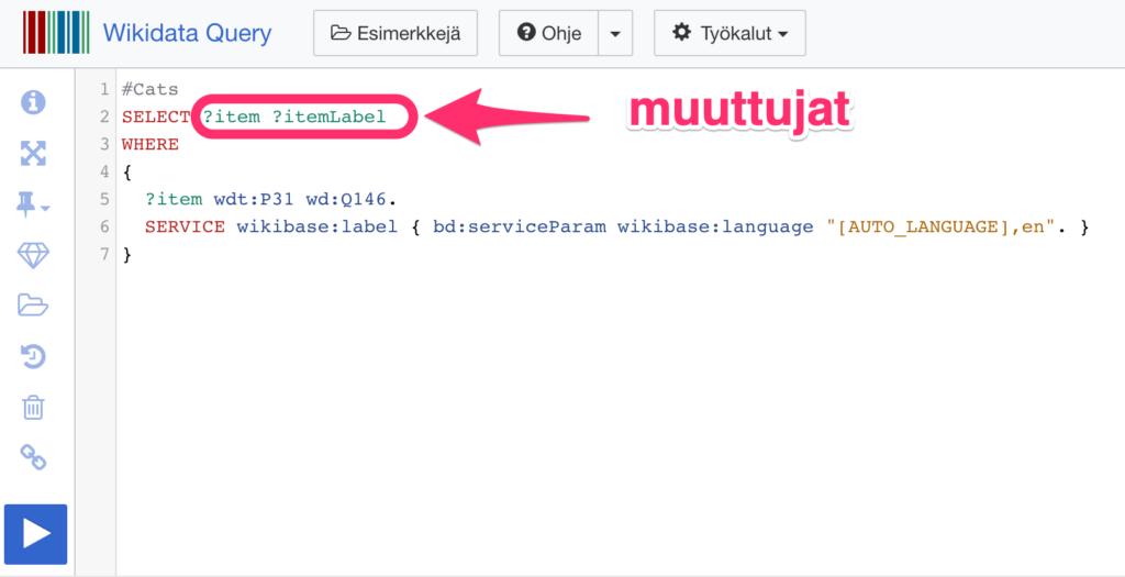 Wikidata Query Service muuttujat